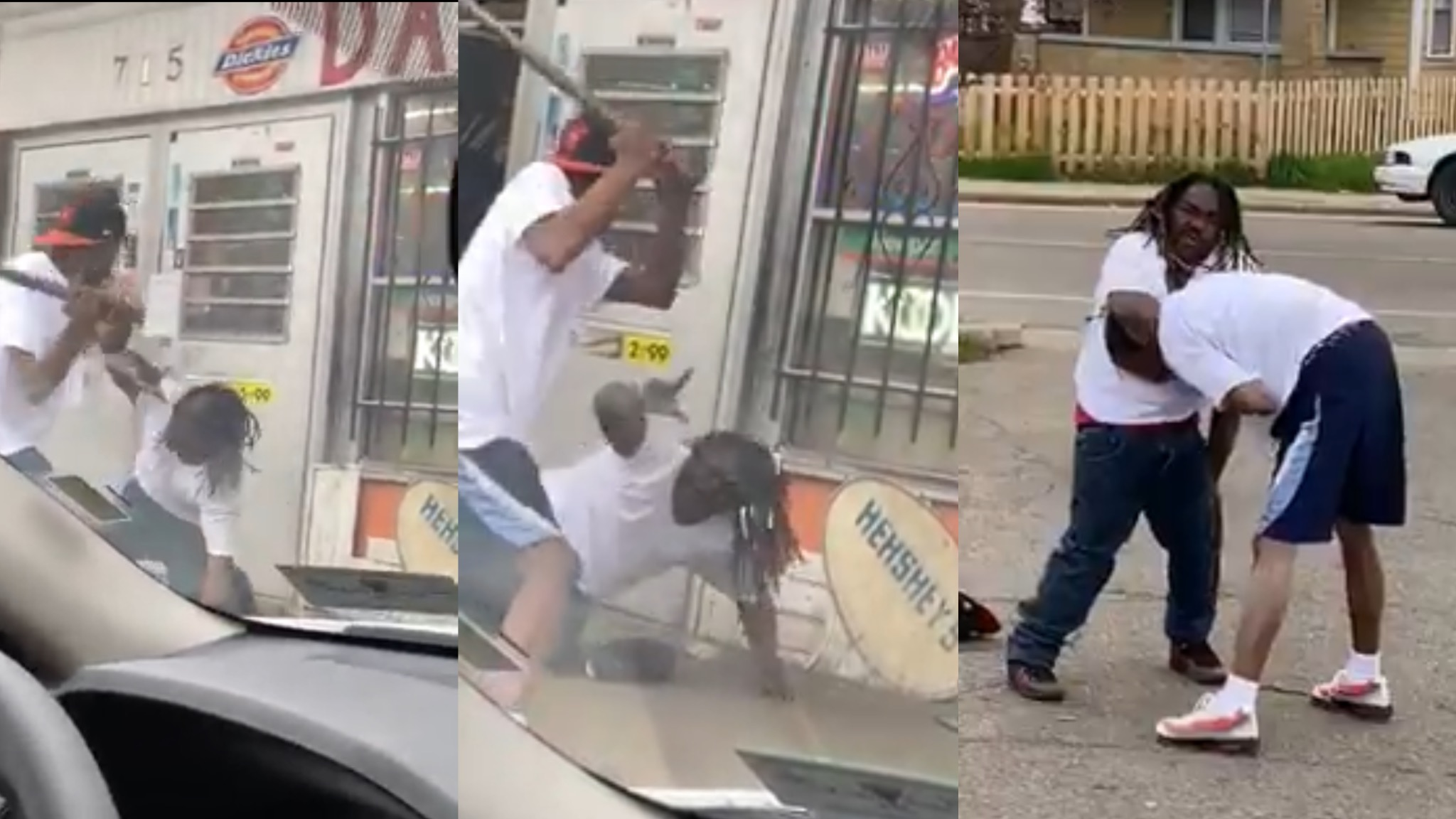 MAN BUSSED HIS OPP'S HEAD TO THE WHITE MEAT  WITH METAL STICK