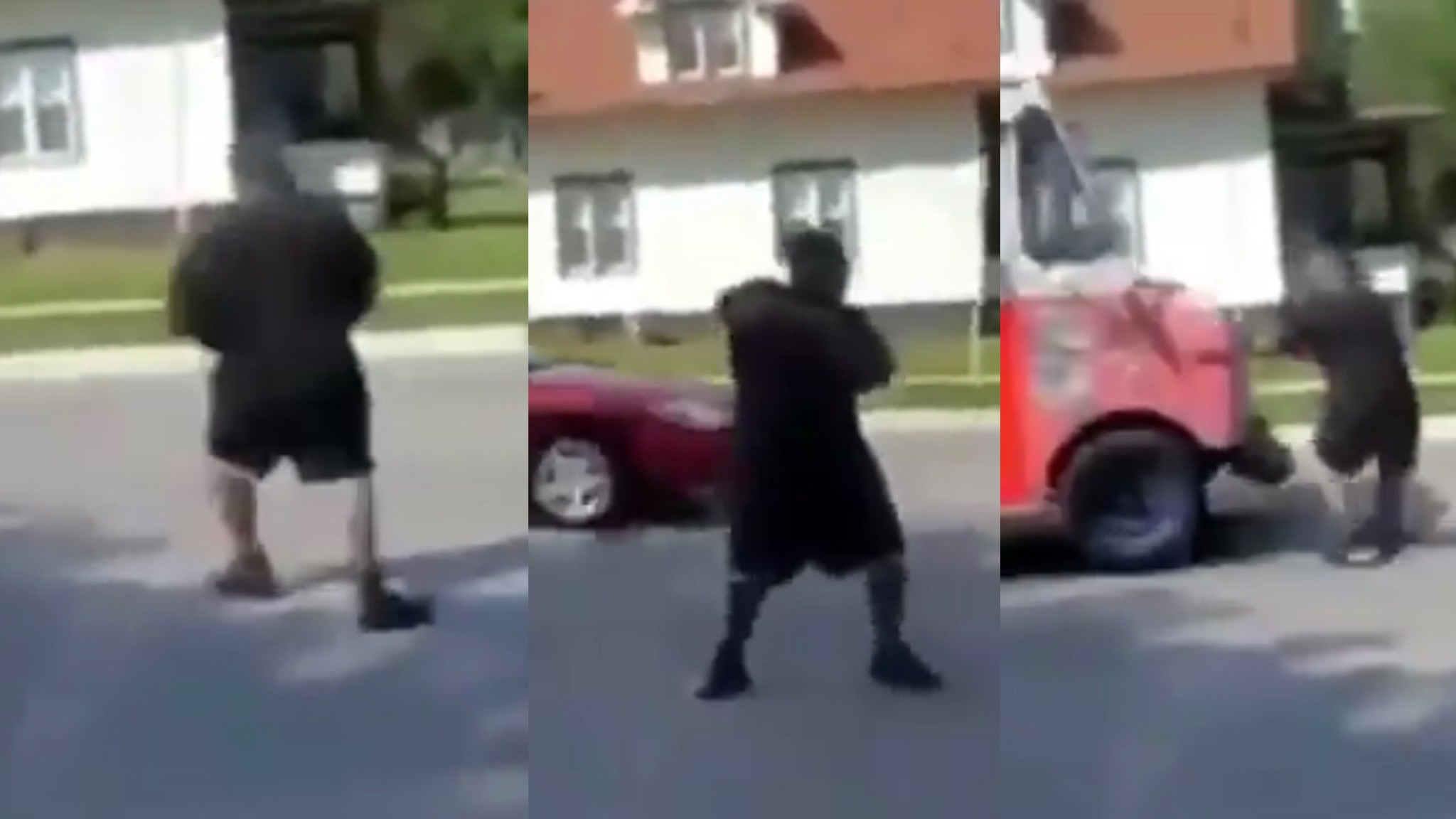 Goofy Man Dancing In The Street Gets Hit By A Ice Cream Truck