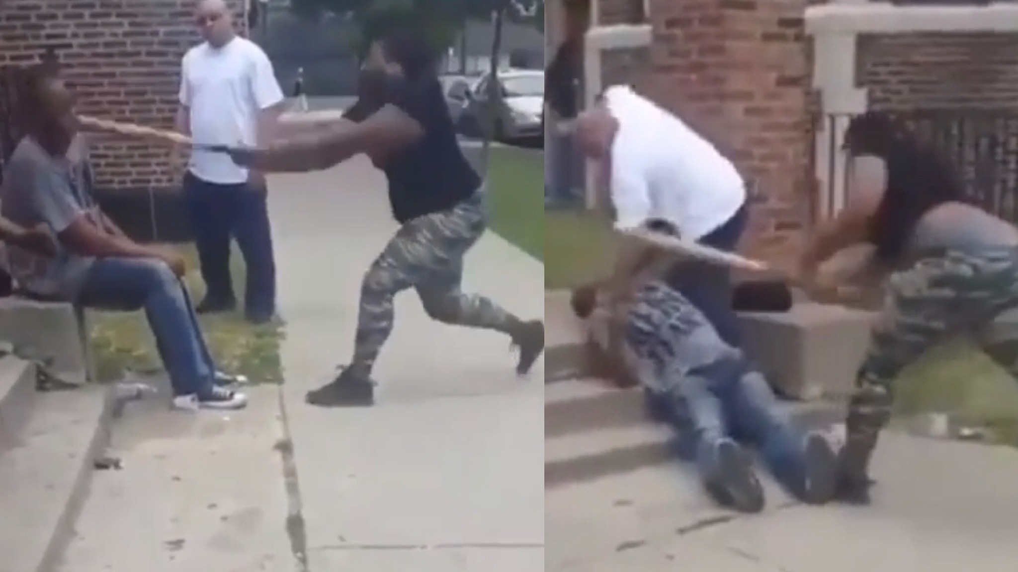 Crazy Fight: They Did Him Dirty! Women Cracks Man In The Head With A Bat! Then Jumped Him!